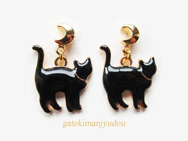 三日月と黒猫のピアスの画像1枚目
