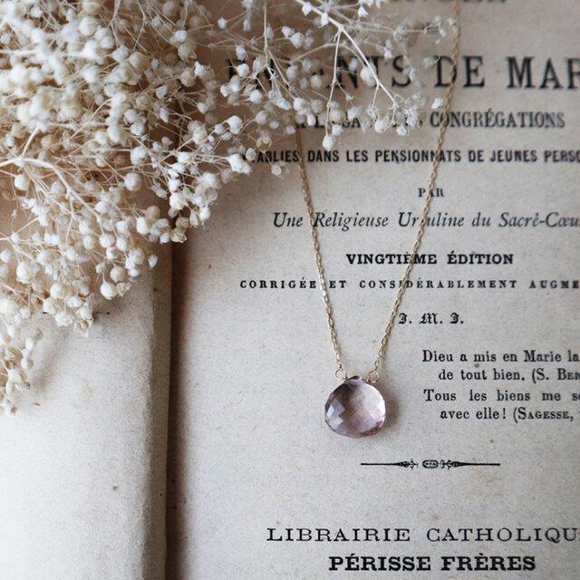 【K10】宝石質アメトリン一粒ネックレス(マクロカット) *2月誕生石の画像1枚目