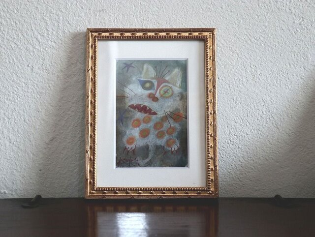 小さい絵画/現代アート/アートコレクション/壁掛けアート/可愛いインテリア/絵画壁掛け/癒しシリーズ・白い猫と星の画像1枚目