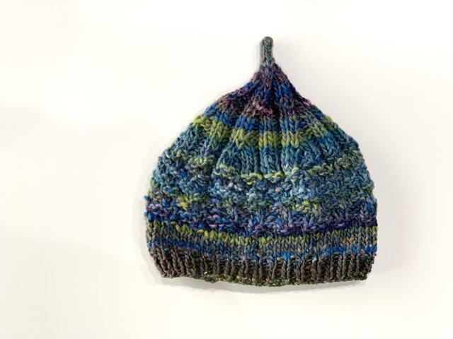 1点限定!どんぐりニット帽子 野呂英作毛糸使用 ブルーグリーンの画像1枚目