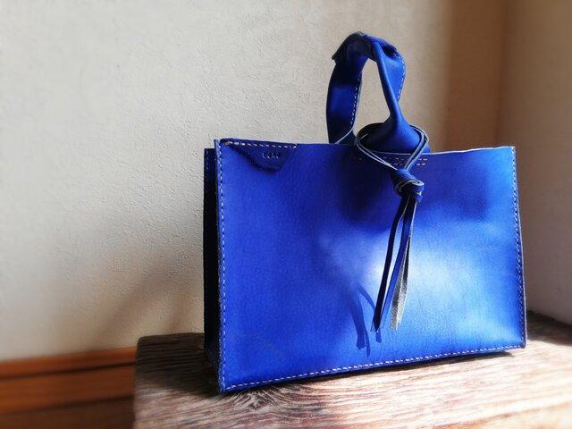 四角いワンハンドルバッグ コバルトブルー オイルヌメの画像1枚目