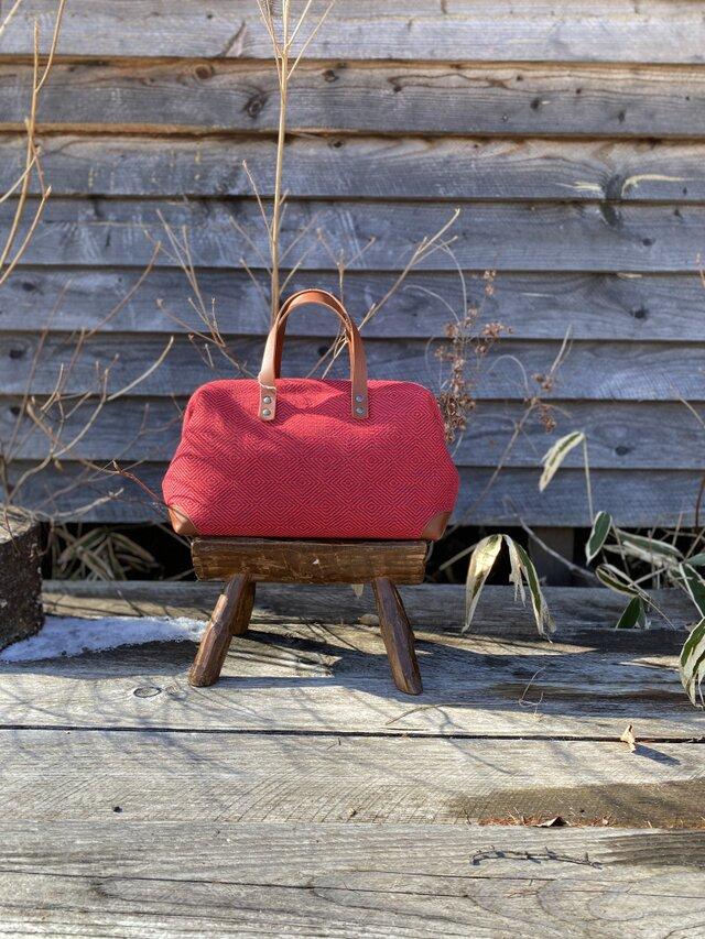 Boston bag  M size [Växbo Lin] ボルドーの画像1枚目
