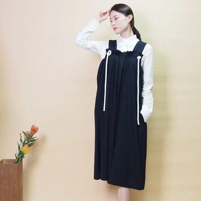【新作】紐付きジャンパースカート(ダークネイビ—)19010の画像1枚目