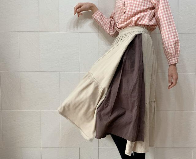 二重横切りスカート(beige)の画像1枚目
