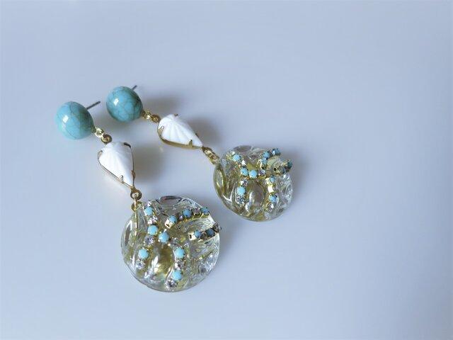ターコイズ&アイスドロップピアス vintage earrings tq ice <PE3-0120>の画像1枚目