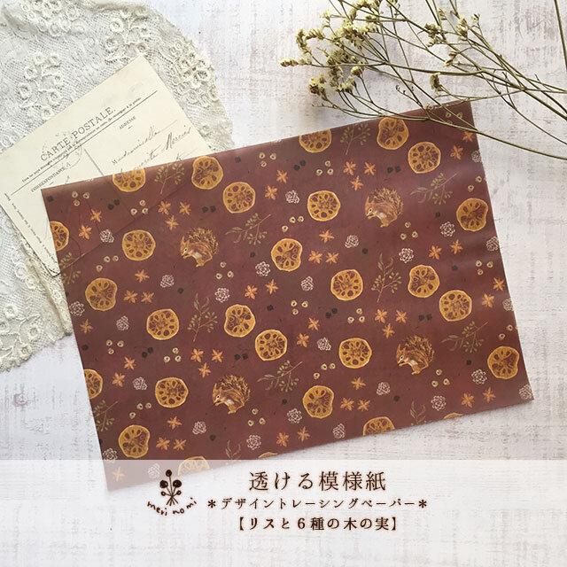 透ける模様紙【リスと6種の木の実】の画像1枚目