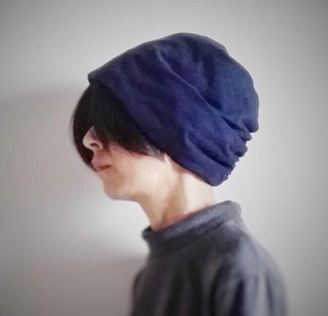 ターバンな帽子 ネイビーリバーシブル 送料無料の画像1枚目