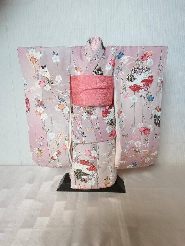 市松人形の着物15号サイズビンク系 100の画像1枚目