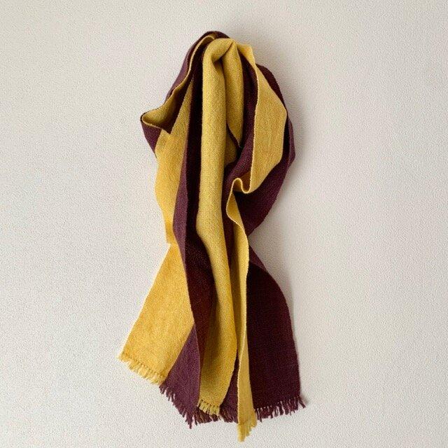 手織りストール 菜の花色×江戸紫の画像1枚目