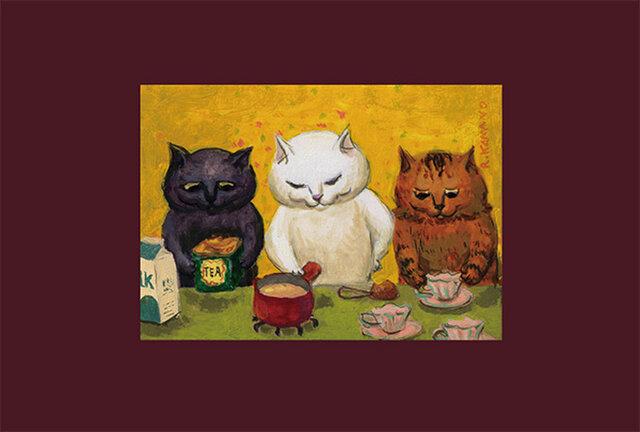 カマノレイコ オリジナル猫ポストカード「紅茶と牛乳」2枚セットの画像1枚目