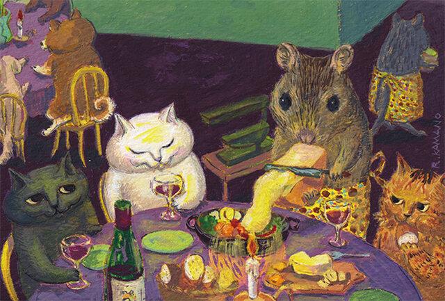 カマノレイコ オリジナル猫ポストカード「ねずみのレストラン」2枚セットの画像1枚目