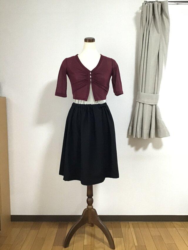 着物リメイクのスカート 黒の画像1枚目