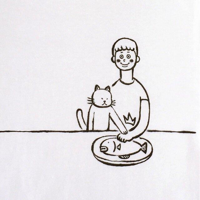 ボクノサカナ・男子【猫選べます Tシャツ】の画像1枚目