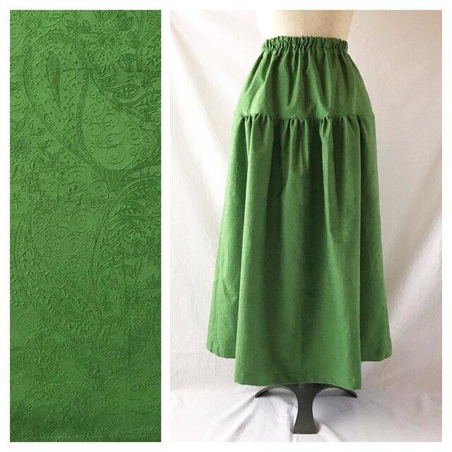 レディのためのティアードスカート(ジャガードペイズリー:グリーン)の画像1枚目