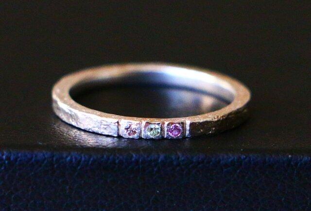 天然石*サファイア 指輪*8号 SVの画像1枚目