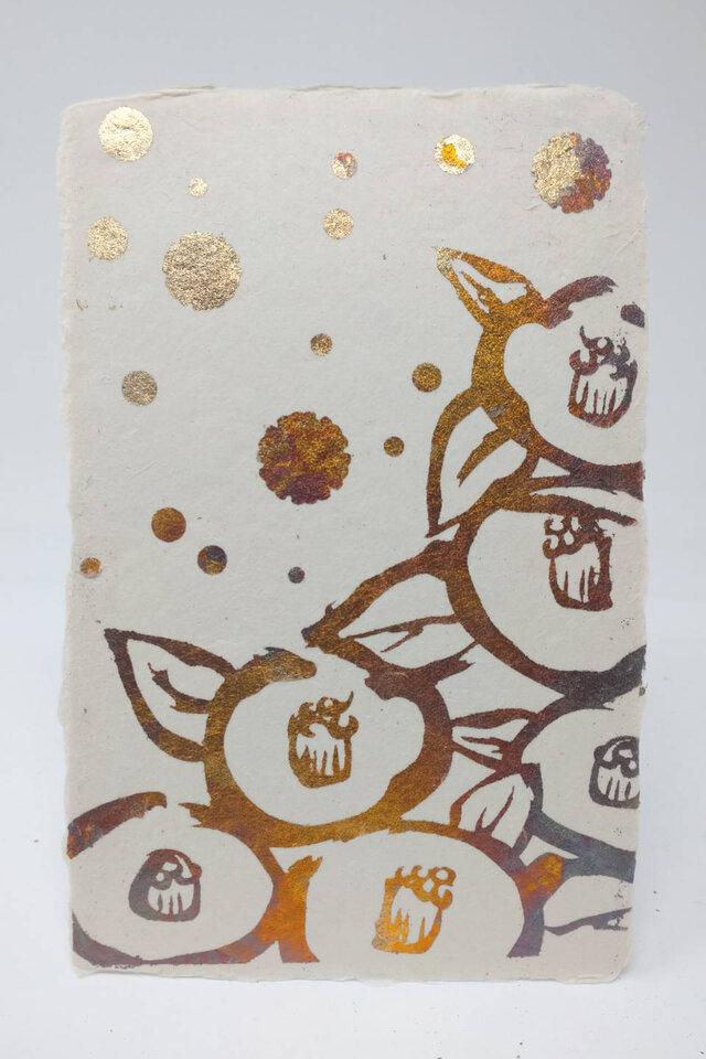 ギルディング和紙葉書 椿 黄混合箔の画像1枚目