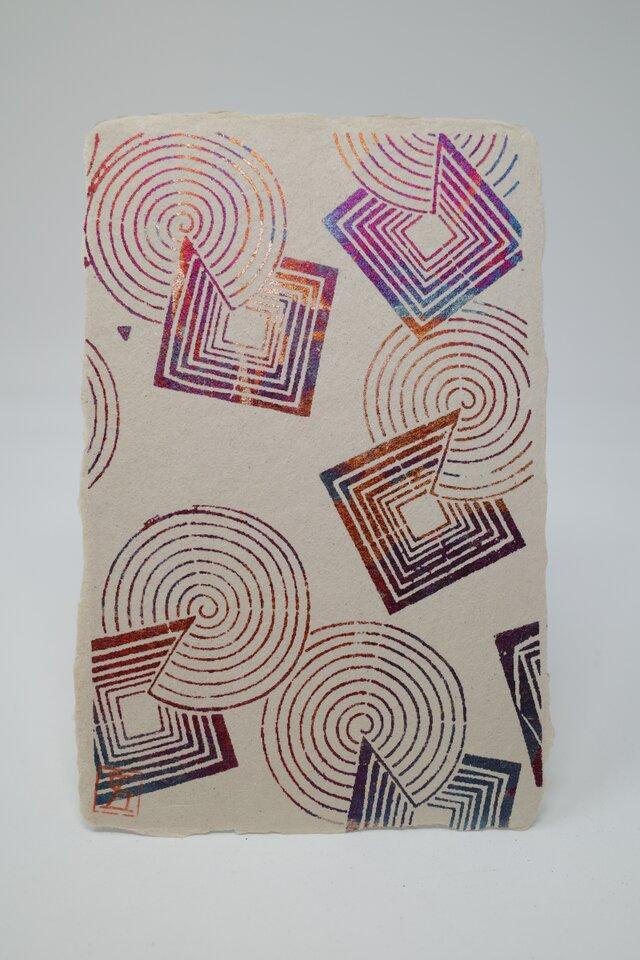ギルディング和紙葉書 丸四角 赤混合箔の画像1枚目