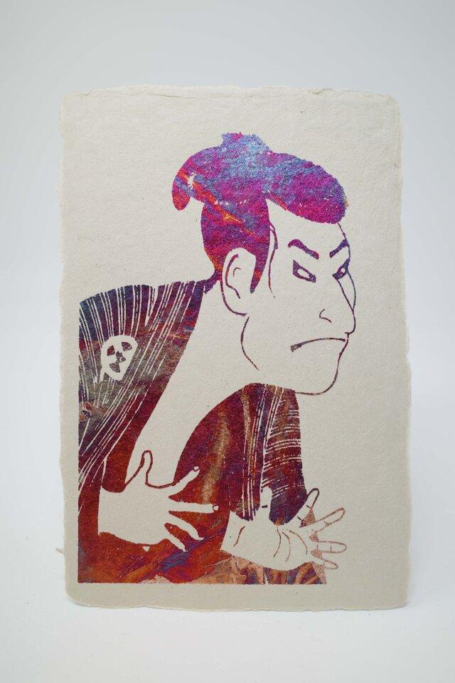 ギルディング和紙葉書 歌舞伎 赤混合箔の画像1枚目
