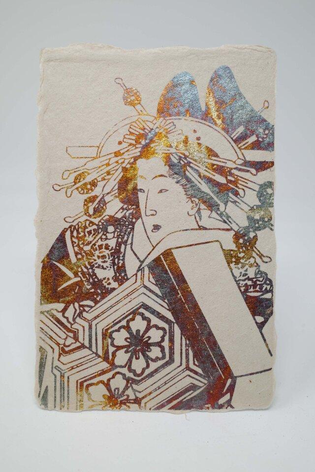 ギルディング和紙葉書 浮世絵女 黄混合箔の画像1枚目