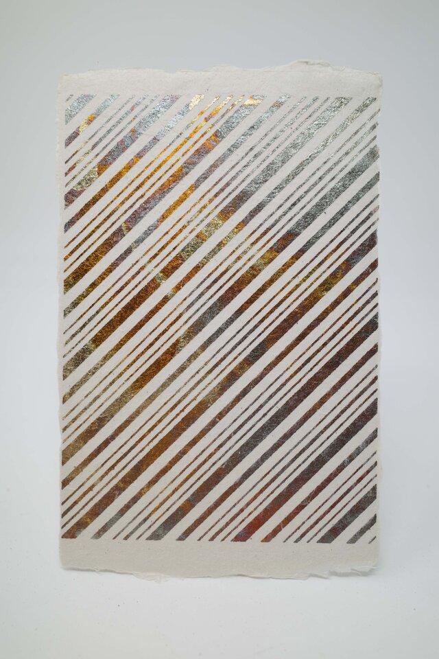 ギルディング和紙葉書 ストライプ 黄混合箔の画像1枚目