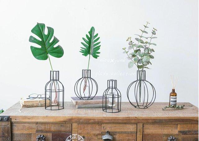 Lサイズ 北欧風 アイアン×ガラス花瓶 ガラスベース の画像1枚目