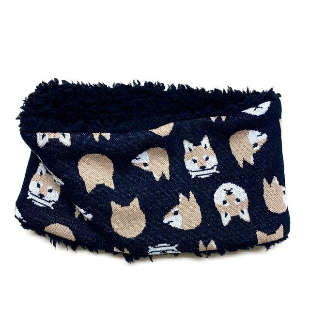 【即納可能】かぶるタイプ☆キッズサイズ☆柴犬柄(黒色)+ふわふわプードルファーのネックウォーマーの画像1枚目