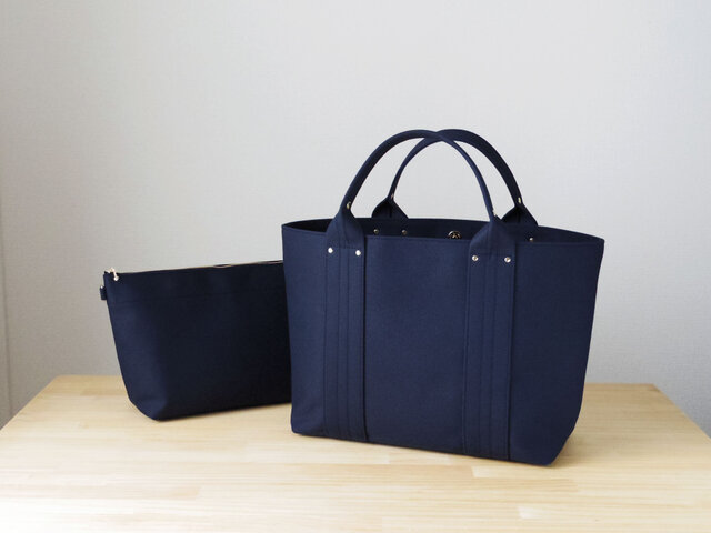 【受注製作】bag in bag 付き帆布トートL(ダークネイビー)の画像1枚目