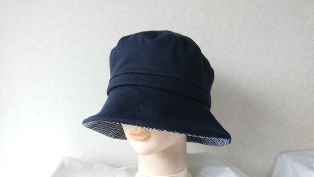 魅せる帽子☆カットソーのクロッシュ~ネイビー&チェックの画像1枚目