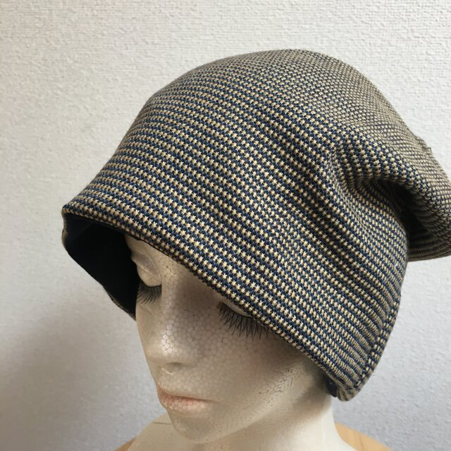 春秋素材 洒落てるニットソーの帽子 中厚地の画像1枚目
