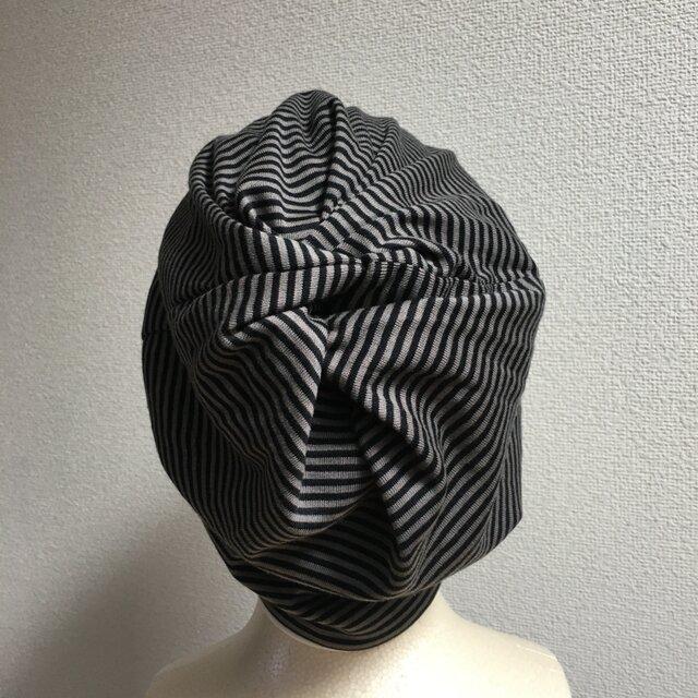 黒ボーダーくしゅくしゅ帽子 中厚地の画像1枚目
