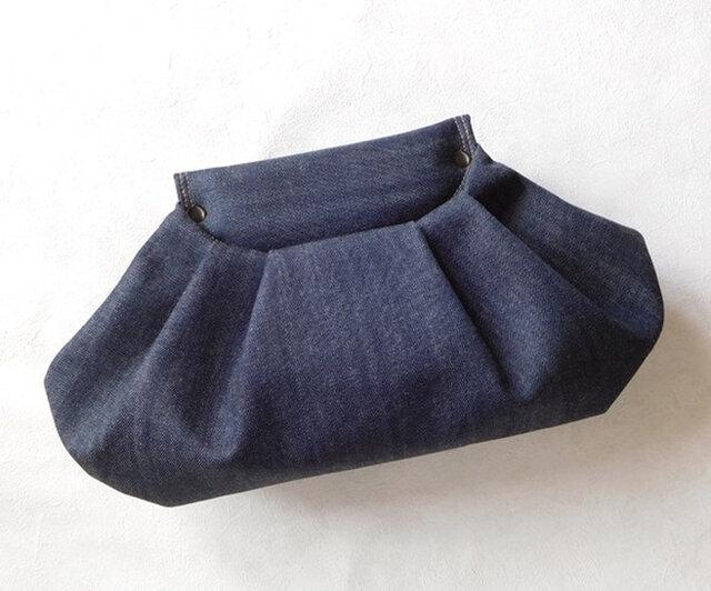 【受注制作】Indigo Denim Clutch Bagの画像1枚目