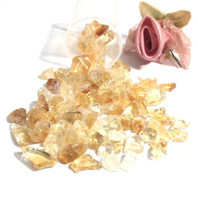 【さざれ石穴なし】~金運の黄結晶~ シトリン 中~大粒 サザレ石 20gの画像1枚目