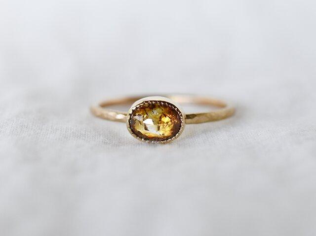 Honey brown diamond ringの画像1枚目