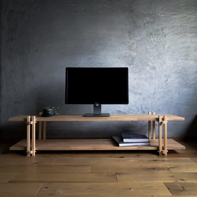木組みで製作 テレビボード 自然塗料 140cm ローボード、テレビ台、桧、松、ラバーウッドの画像1枚目