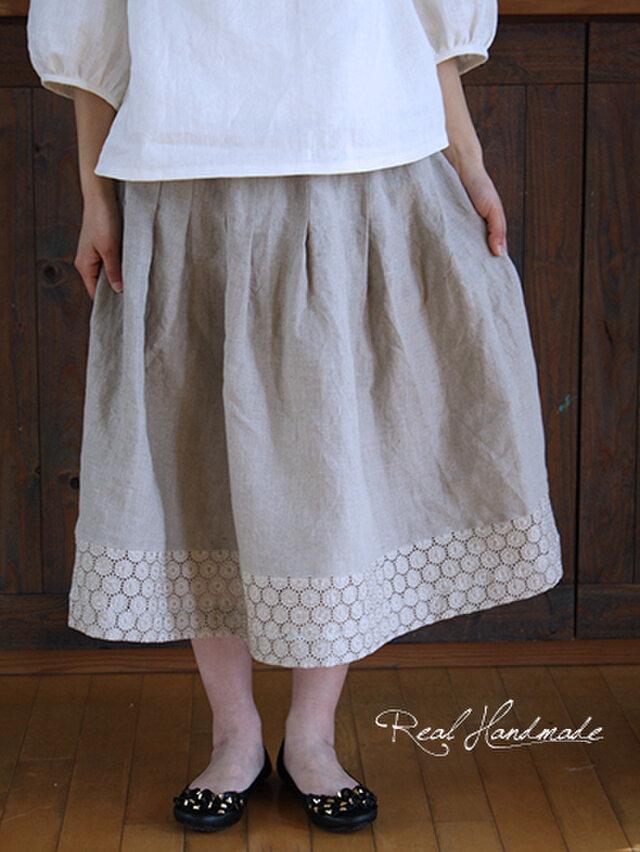 [予約販売] ヨーロッパリネンサークル刺繍タックスカート **卒園 卒業式 入学式 フォーマル 冠婚葬祭 ブライダルの画像1枚目