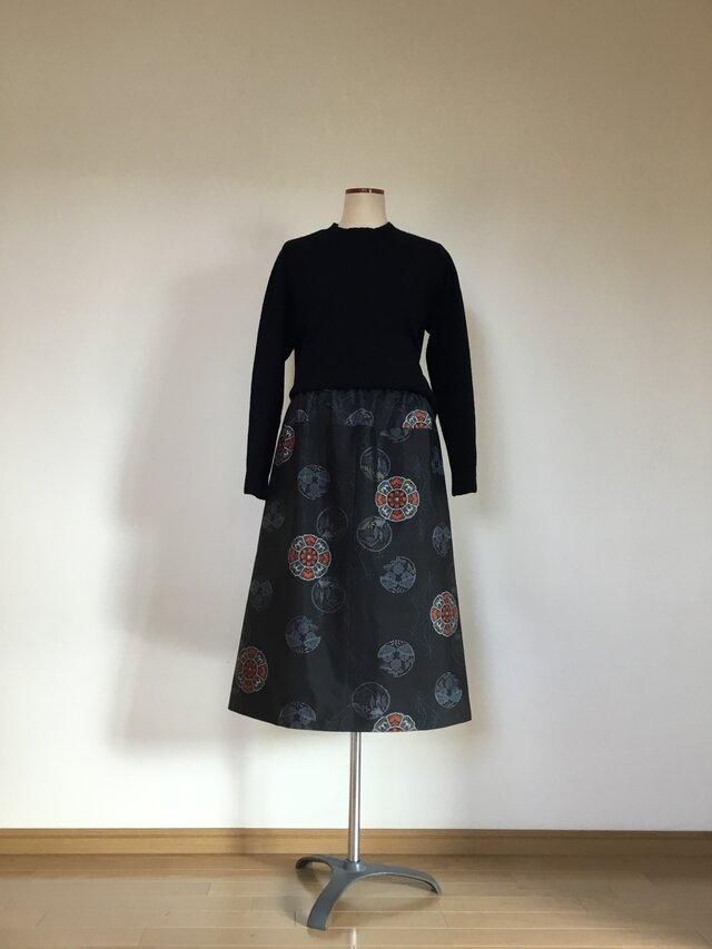 大島のスカート     Aライン     着物リメイクの画像1枚目