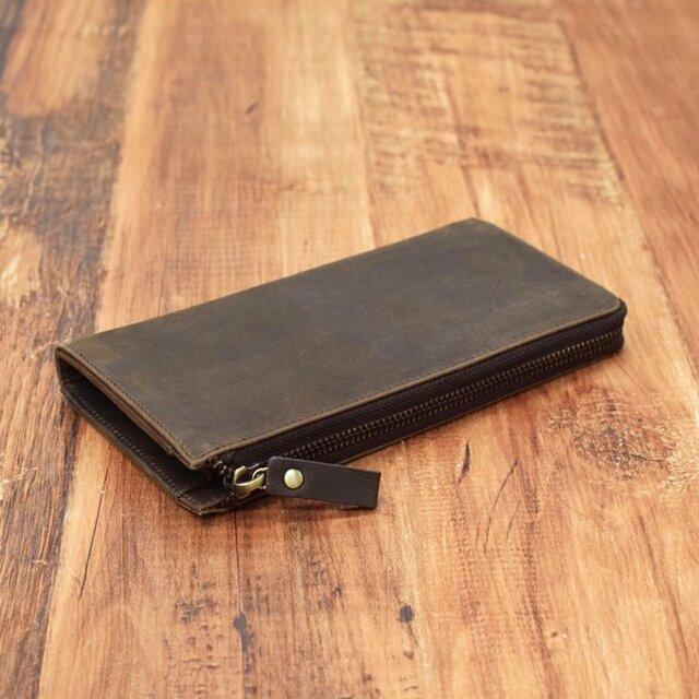 【7月中旬入荷予定】名入れ可 財布中を整理整頓。自分で育てる財布。オールレザーで仕上げた L字ファスナー長財布 チョコの画像1枚目