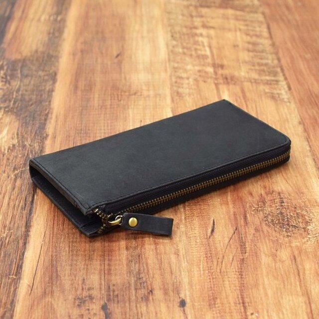 名入れ刻印 財布中を整理整頓。自分で育てる財布。オールレザーで仕上げた L字ファスナー長財布 ブラックの画像1枚目