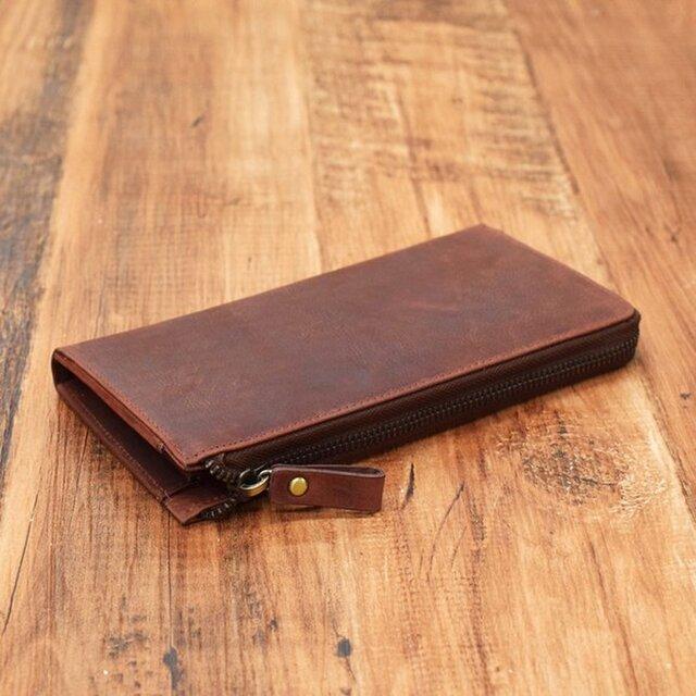 名入れ可 財布中を整理整頓。自分で育てる財布。オールレザーで仕上げた L字ファスナー長財布 ワインの画像1枚目