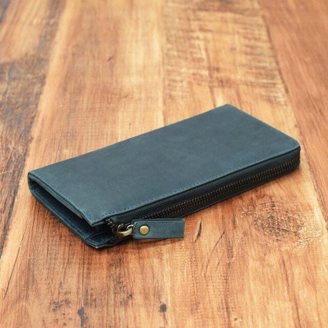名入れ可 財布中を整理整頓。自分で育てる財布。オールレザー L字ファスナー長財布 ダークグリーンの画像1枚目