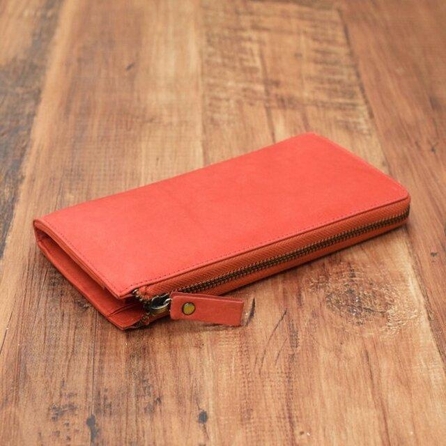 名入れ可 財布中を整理整頓。自分で育てる財布。オールレザーで仕上げた L字ファスナー長財布 レッドの画像1枚目