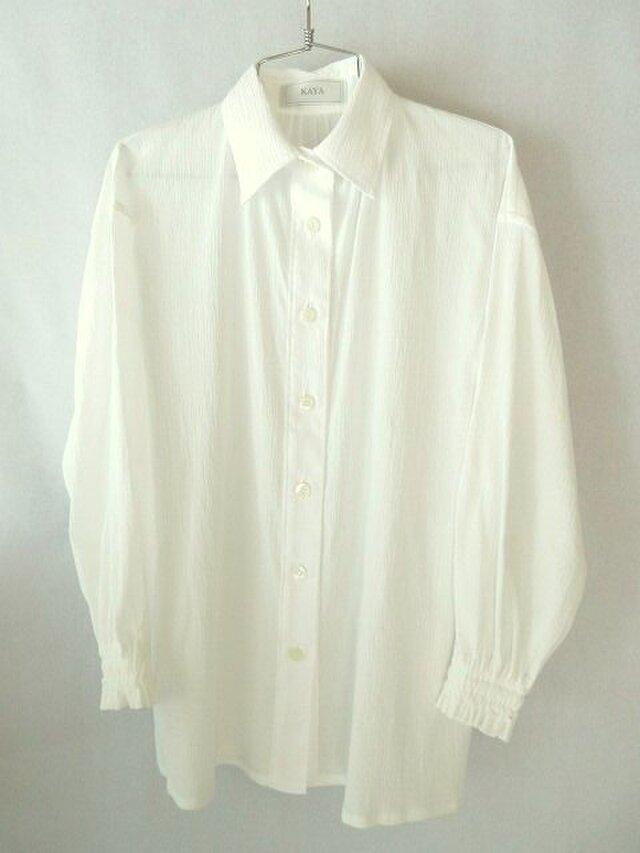 コットン楊柳のシャツ 白の画像1枚目