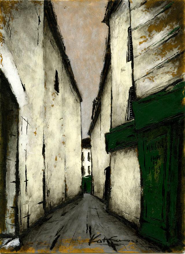 風景画 パリ 油絵「パリの裏通り」の画像1枚目