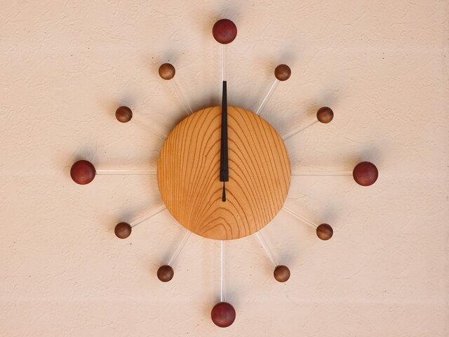 無垢の木の電波掛け時計 けやき 0075の画像1枚目
