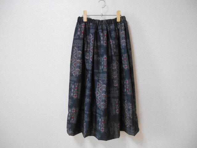 再販★黒大島紬リメイクスカートの画像1枚目