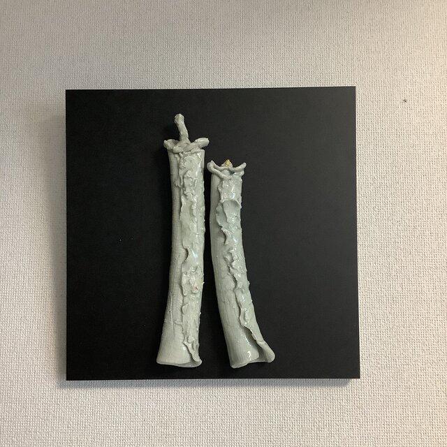 雛[陶額]灰釉ー磁器土の画像1枚目