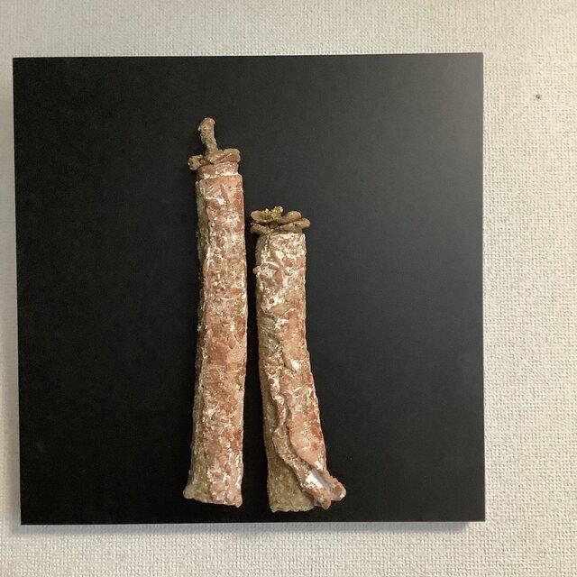 雛[陶額]焼締ー赤土の画像1枚目