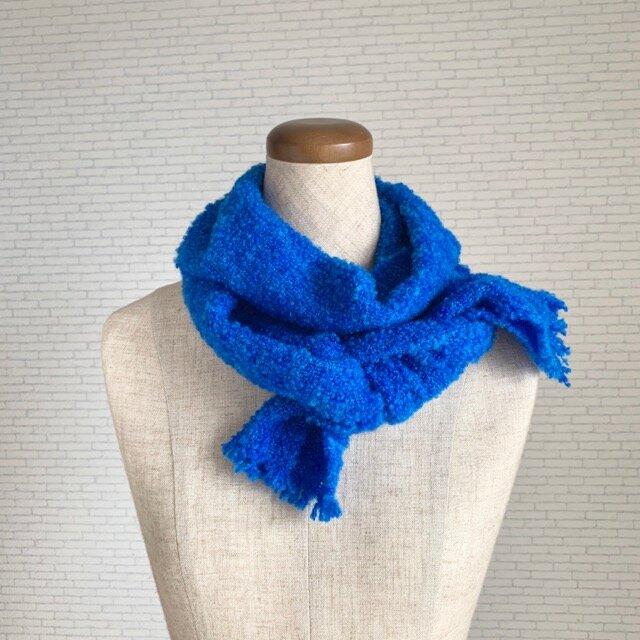 青い宝石 手織りストールの画像1枚目