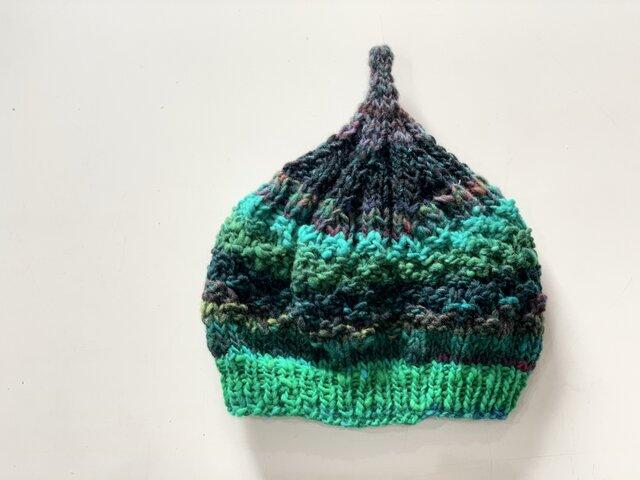 1点限定!どんぐりニット帽子 野呂英作毛糸使用 ダークグリーンの画像1枚目