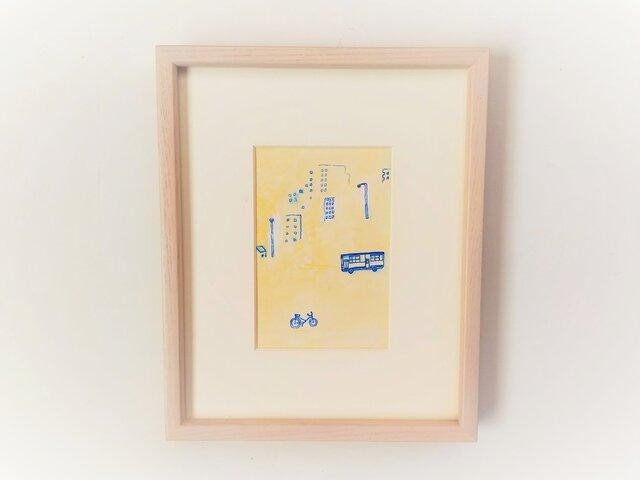 「黄金通りの帰り道」イラスト原画 ※木製額縁入りの画像1枚目